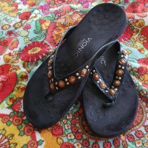 Vionic Orthaheel Black Sandals